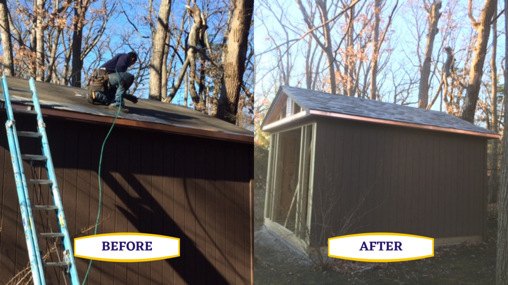 Shed Roof before and after